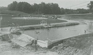 Argonne Forest Park swimming pool and baseball diamond circa 1930