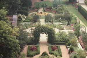 Raised view of the formal gardens