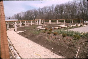 The formal gardens under construction