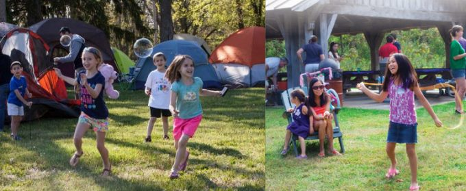 Families camping and picnicking